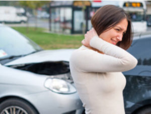 woman with whiplash injury after a car accident