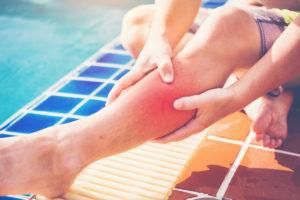 injured leg from a swimming pool injury